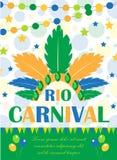 Rio carnival poster, invitation, flyer. Template for your design. Brazilian Festival, Masquerade background. Brazil. Party concept. Vector illustration Royalty Free Stock Image
