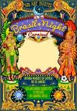 Rio Carnival Poster Template Brazil Carnaval Mask Show Parade. Rio Carnaval festival poster illustration. Brazil night Show Carnival Party Parade masquerade vector illustration