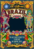Rio Carnival Poster Theme Brazil Carnival Mask Show Parade. Rio Carnival festival poster illustration. Brazil night Show Carnival Party Parade masquerade Stock Photo