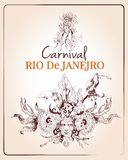 Rio carnival poster. Traditional rio brazilian carnival celebration poster with young beautiful woman and decoration masque sketch vector illustration Stock Photography