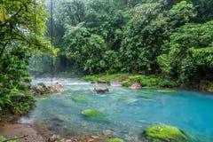 Rio Celeste blue acid water. Costa Rica Royalty Free Stock Photo