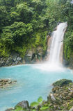 Rio Celeste Waterfall. The beautiful waterfall in Costa Rica Stock Photo