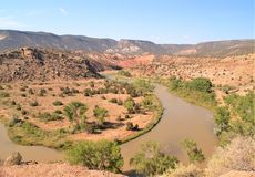 Rio Chama in Abiquiu, New Mexico. A horseshoe bend along the Chama River near Abiquiu in northern New Mexico stock image