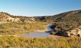 Rio Chama nära Abiquiu Arkivbilder