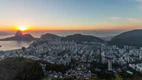 Rio Cityscape Time Lapse Sunrise-Panning stock video