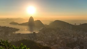 Rio Cityscape Time Lapse Sunrise-Zoom stock video