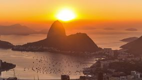 Rio Cityscape Time Lapse Sunrise Zoom stock footage
