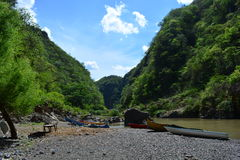 Rio Coco river and the boats those take to Somoto Canyon, Nicaragua Royalty Free Stock Photo