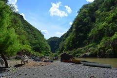 Rio Coco rzeczny i łodzie Nikaragua, tamto biorą Somoto jar zdjęcie royalty free