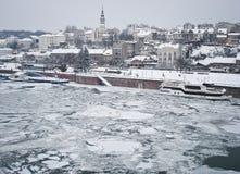 Rio congelado Fotografia de Stock Royalty Free