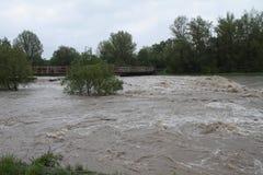 Rio da inundação Fotos de Stock