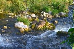 Rio da montanha da água de mola e o Stony Creek maravilhoso em Cáucaso norte foto natural da paisagem da montanha fotografia de stock royalty free