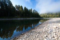 Rio da montanha do verão Rio Biya de Altay Imagem de Stock