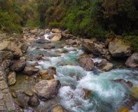 Rio da montanha no leito fluvial de pedra Fotos de Stock