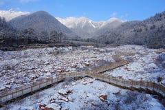 Rio da neve na montanha de Niubei foto de stock