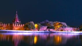Rio da noite Bastião do palácio de Mandalay fotografia de stock royalty free