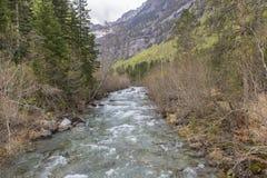 Rio de Arazas no parque nacional de Ordesa y Monte Perdido foto de stock