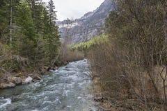 Rio de Arazas no parque nacional de Ordesa y Monte Perdido imagem de stock royalty free