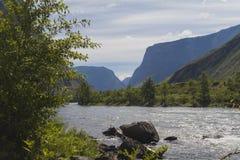 Rio de Chulyshman no vale das montanhas imagens de stock