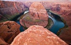 Rio de Colorado em ferradura Vista da curvatura no Arizona Fotografia de Stock