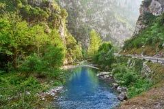 Rio de Deva em Cantábria da Espanha imagem de stock