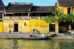 Rio de Hoai na cidade antiga de Hoian em Hoian, Vietname Fotos de Stock