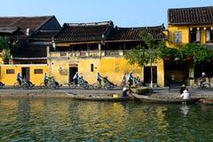 Rio de Hoai na cidade antiga de Hoian em Hoian, Vietname Imagem de Stock Royalty Free
