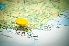 Rio de Janeiro. Map marked with the location of Rio de Janeiro in Brazil stock photos