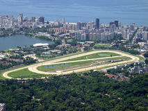 Rio de Janeiro. Jockey club track with Rodrigo de freitas on the left and Ipanema beach on the top stock photos