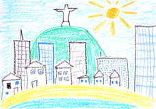 Rio de Janeiro. Child drawing of Rio De Janeiro made with wax crayons Royalty Free Stock Images