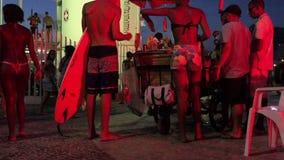 Rio de Janeiro Arpoador Night Summer Scene stock video