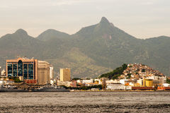 Rio de Janeiro as seen from a boat on Baia de Guanabara Royalty Free Stock Photography