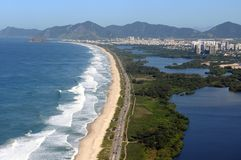 Reserva Beach. Rio de Janeiro, August 12, 2014. Aerial photo of the reserve beach with the Marapendi lagoon, located in the western zone of the city of Rio de Royalty Free Stock Photos