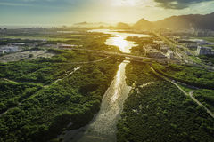 Rio de Janeiro, Barra da Tijuca aerial view with light leak Royalty Free Stock Images