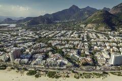 Rio de Janeiro, Barra da Tijuca beach aerial view. Brazil Stock Images