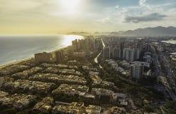 Rio de Janeiro, Barra da Tijuca with sunset light aerial view Stock Images