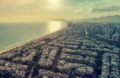 Rio de Janeiro, Barra da Tijuca with sunset light aerial view Royalty Free Stock Photo