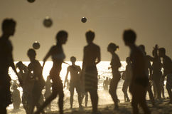 Rio de Janeiro Beach Silhouettes Brazilians Playing Altinho Stock Photos