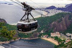 Aerial Tram And Rio De Janeiro, best top view Brazil today. Sugarloaf. royalty free stock photo