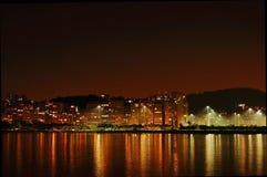 Rio de Janeiro bij nacht Stock Afbeelding