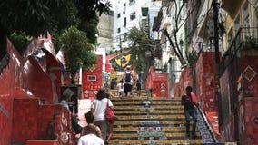 RIO DE JANEIRO BRASILIEN 25, MAJ, 2016: övreavsnitt av selaronmoment i Rio de Janeiro lager videofilmer
