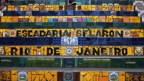 RIO DE JANEIRO BRASILIEN 25, MAJ, 2016: nära upp av selaronmoment i Rio de Janeiro arkivfilmer