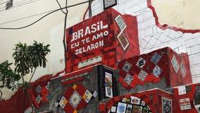 RIO DE JANEIRO BRASILIEN 25, MAJ, 2016: nära upp av selaronmomenttegelplattor i rio stock video