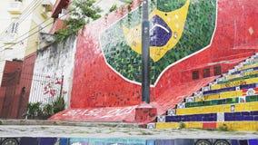 RIO DE JANEIRO BRASILIEN 25, MAJ, 2016: skjutit gå för 3 axel gimbalen upp selaronmomenten i rio lager videofilmer