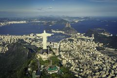 Rio de Janeiro, Brazil : Aerial view of Christ and Botafogo Bay. From high angle royalty free stock photo
