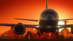 Rio de Janeiro Brazil Airplane Take fuori dal fondo dorato dell'orizzonte Fotografia Stock