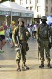 Army in the streets of Rio de Janeiro. Rio de Janeiro, Brazil - april 29, 2018: Army makes patrol on the streets of the city center of Rio de Janeiro, after royalty free stock photos