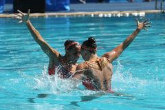 Laura Auge and Margaux Chretien of France compete during the synchronized swimming duet preliminary round at the 2016 Olympics stock photography