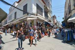 Popular street shopping. Rio de Janeiro, Brazil - august 20, 2016: Street of the Saara region, popular street shopping place in the city Royalty Free Stock Image