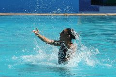 Team Greece in action during synchronized swimming duets free routine preliminary competition of the Rio 2016 Olympic Games. RIO DE JANEIRO, BRAZIL - AUGUST 14 Stock Image